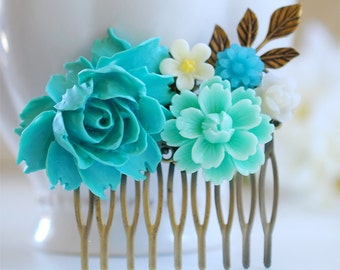 Turquoise Blue Wedding Bridal Hair Comb,  Blue and Ivory Flowers Brass Leaf Filigree Collage Hair Comb, Bridal Wedding Hair accessory