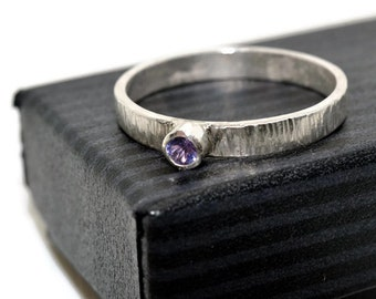 Tiny Tanzanite Ring, Women's Engagement Ring, Sterling Silver Birch Bark Ring, Engraved Ring, Personalized Natural Violet Stone Jewelry