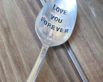 Vintage Spoon, Celebration Spoon, Teaspoon, Love You Forever, Love Spoons, Hand Stamped Spoon, Table Decor, Weddings, Favor, Ready to Ship