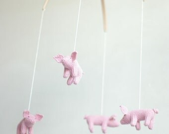 SALE -10 % - baby mobile - nursery mobile -  Piglet  mobile - ready to ship