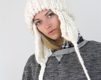 The Summit Hat- Cable Knit Ear Flap Pom Pom - white