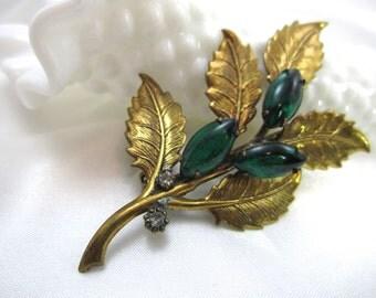 Vintage Emerald Brooch Vintage Brooch Brooch Lapel Pin Women Teens Costume Jewelry Brooch Mad Men 60's
