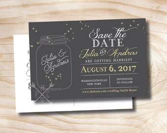 MASON JAR FIREFLIES Wedding Save the Date Postcard - Printable digital file