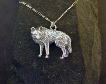 Sterling Silver Wolf Pendant on a Sterling Silver Chain