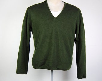 sweater, mens sweater, dark green knit v neck sweater, long sleeve, 60s, grunge punk jumper, mens men size xs- x s-  Small