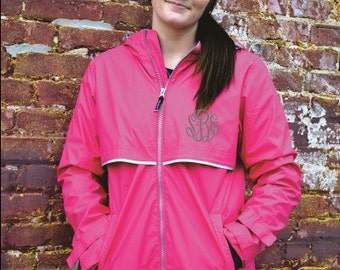 HOT PINK Monogrammed Rain Jacket -Womens - Personalized - Adult Sizes