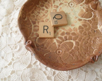 Clay Dish in Yellow Brown, Vintage Lace Stamped, Handmade