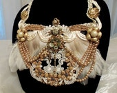Statement Bib Necklace, Vintage Couture Handmade Bridal Jewelry, One of a Kind Formal Neck Piece.