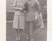 Wartime Couple- 1940s Vintage Photograph- WWII Military Photo- WW2 Soldier- Wedding Picture- 40s Snapshot- Paper Ephemera