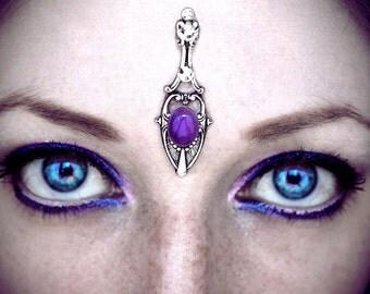 Amethyst Tower Bindi, fantasy jewelry, goddess, forehead jewelry, gemstone, fairy, wicca, tribal fusion, gypsy costume, bellydance, purple