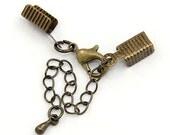 10 Antique Brass Cord Ends with Lobster Clasp & Extender Chain / Ribbon Crimp / Crimp Ends / Fold Over Crimp .. Lead Cadmium Free 95.J4C