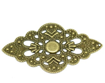 Filigree : 10 Antique Bronze Filigree Connectors   Filigree Metal Jewelry Stampings   Filigree Links - Lead, Nickel & Cadmium Free 18676.T