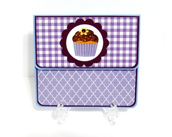 Purple Gingham: Gift Card Holder, Gift Card Envelope, Gift Card Box, Money Holder