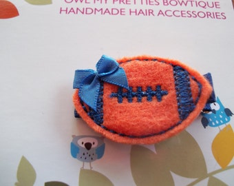 Royal Blue and Orange Felt Football Hair Clip Clippie Babies Toddlers Girls