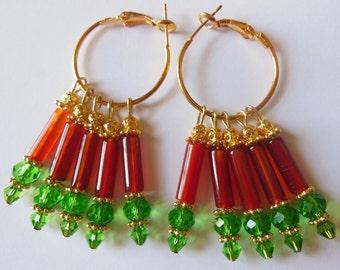 Hot red Carnelian on green chandelier earrings E464