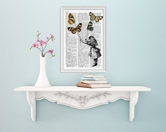 Summer Sale Alice in wonderland wall art- Alice and the flying butterflies II- Alice in Wonderland Collage Dictionary print ALW035