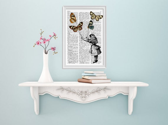 Alice in wonderland wall art- Alice and the flying butterflies II- Alice in Wonderland Collage Dictionary print ALW035