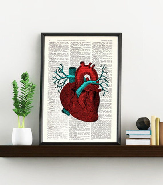 Human Heart Wall art Anatomy study print,Medicine art Print, graduation gift,Giclee  art,Human heart SKA057b