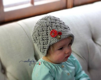 Crochet Pattern for Unisex Diagonal Weave Newsboy Beanie Hat - 6 sizes, newborn to large adult - Welcome to sell finished items