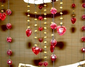 OOAK Red Heart  Mobile. Love Chandelier. Home Decor. Ceiling Decoration. Outdoors Garden Mobile. Bedroom Chandelier. Valentine's Mobile