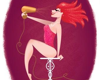 Pin Up Girl Art Print - Redhead