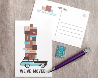 Moving Announcement Postcard - Car with boxes fill in blank change of address card i've moved or we've moved card - set of 15