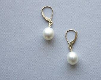 10K Gold Pearl Diamond Earrings
