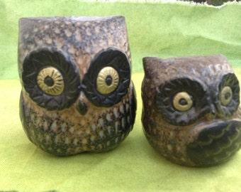 70's Vintage pair OWLS. Mod, pop, Mid century Kitsch, Eames Panton era.  Ceramic, Porcelain.  Made in Japan.