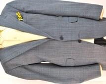 1980's Men's Jacket Sport Coat 44 Long Blue Plaid Vintage Menswear Armor of Modern Men