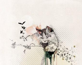 Cat Drawing, Print of Original Drawing, Cat Lover Gift, Original Drawing Illustration, Cat Painting