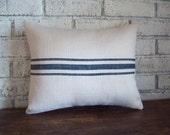Burlap Pillow Cover - Rustic Fall Home Decor - Choice of Colors and Size - Farmhouse Decor - Striped Pillow - Grain Sack Pillow