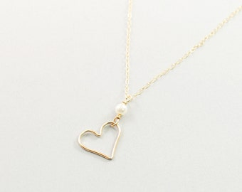 12k gold filled heart necklace pearl gold heart necklace love jewelry, gold filled heart and pearl necklace, anniversary gift valentines day