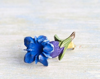 Blue Gentian - Antique Celulloid Alpine Flower Brooch