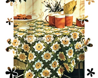 Instant Download PDF Crochet Pattern to make a Daisy Daffodil Motif Table Cloth Runner Bed Cover Cushion Granny Squares Kitsch Cottage