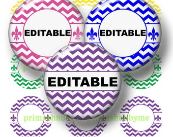 2 CHEVRON, Editable 2 Inch Circles, Digital Collage Sheets  (No.1) Instant Download, Personalized Cupcake Toppers, Magnets, Gift Tags