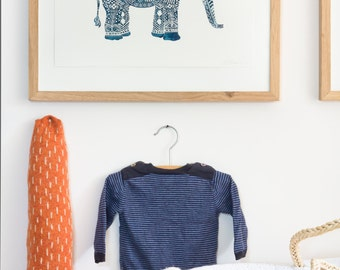 ON SALE!!!  --> Letterpress print - Elephant - Blue