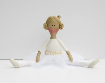 Ballerina doll fabric doll cloth doll stuffed doll softie rag doll ivory cream white princess doll- gift for girls