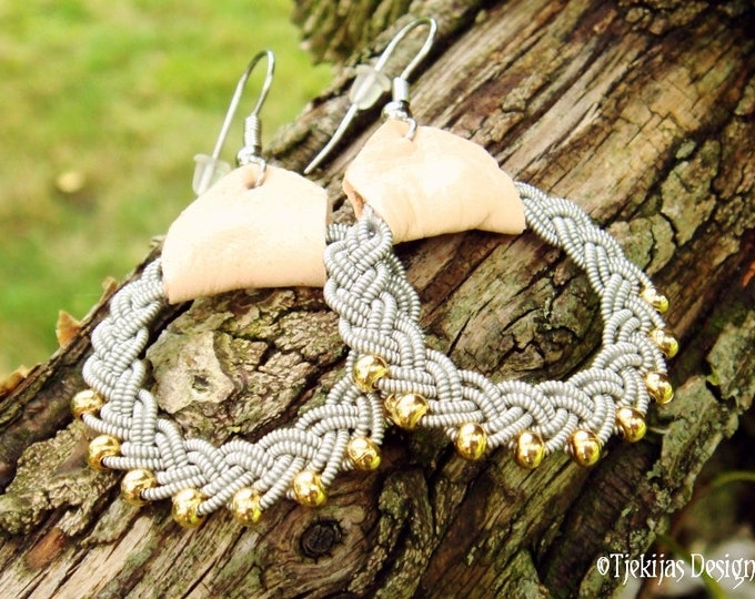 Sami Earrings RIMFAXE Swedish Lapland Natural Leather Pewter Braids with 14K Goldfilled Beads - Handcrafted Nordic Tribal Elegance