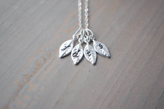 Best Friends Necklace | Personalized Necklace | Mother's Day Gift | Silver Leaf Initial Necklace | 1 2 3 4 5 6 Initials | Couples Sisters