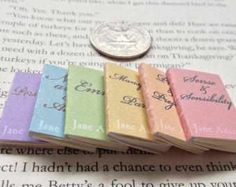 SALE - Miniature Book Collection / Set of Jane Austen Books / 6 Tiny Books with real blank pages / 1:6 scale / mini vintage books in rainbow