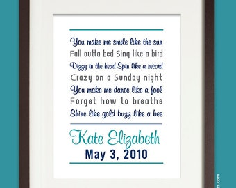 Personalized Baby Name Nursery Poem, 8x10 Wall Print, Nursery Decor (custom song, lyrics art, poem, baby stats) custom colors, teal and navy