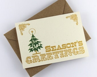 "Holidays Card ""Season's Greetings"", Christmas Card, Christmas Tree, Vintage Style, Gold Print"