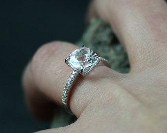 Moissanite Cushion & Diamonds Basket prongs Engagement Ring Theia Grand 2.4ct 8mm  Ready To Ship Today Custom White Gold-10k