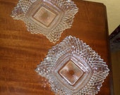 Pair of Glass SQUARE Dishes/Hankerchief/Hobnail/NUT/CANDY/Dishes