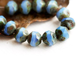 Milky Cornflower Blue czech beads, picasso round cut fire polished beads, nugget - 9mm - 12Pc - 1589