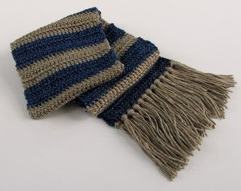 Crochet Winter Scarf in Dark Blue and Tan Stripes