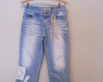 Denim capri rustic artsy lace trimmed denim capris long shorts white washed denim, light washed XS, lace and denim