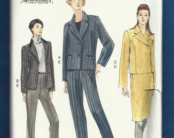 Vogue 7150 Double & Single Breast Notched Collar Jackets Tapered Pants and Skirt Size 8-10-12 UNCUT