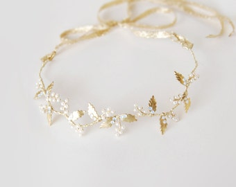 Bridal pearl hair crown - gold leaf headband - Greek headpiece - wedding hair wreath - bride hair accessories - Grecian inspired (#315)