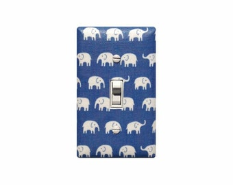 Elephant Light Switch Plate Cover / Blue and White Baby Boy Nursery Decor / Slightly Smitten Kitten
